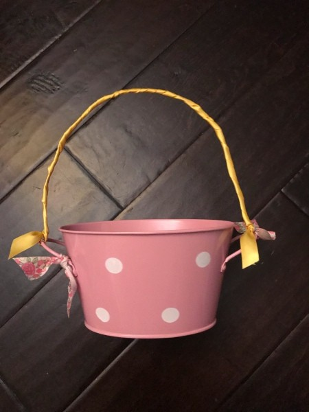 Tin Tub Easter Basket - wrap wire with ribbon
