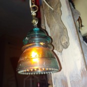 Pricing Handmade Decor Items - vintage glass transformer hanging light fixture