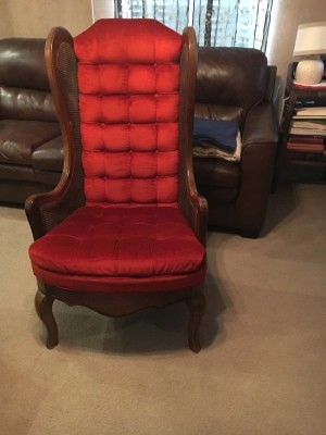 Identifying an Old Upholstered Wingback Chair with Cane Sides - red upholstered chair