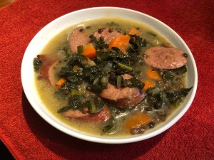 bowl of Kale and Sausage Lentil Soup
