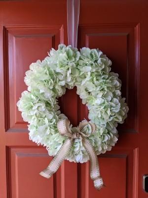 Making a Hydrangea Door Wreath - wreath hanging on the door