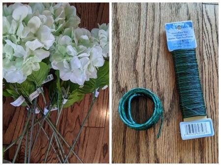Making a Hydrangea Door Wreath - supplies