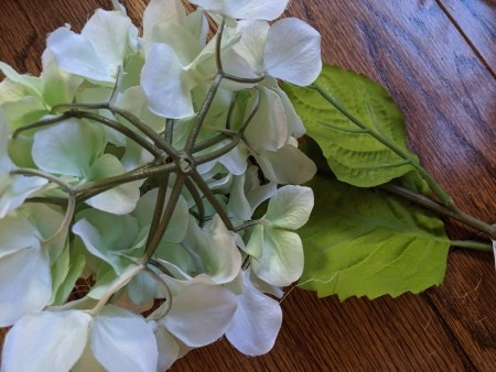 Making a Hydrangea Door Wreath - cut the flowers from the stems