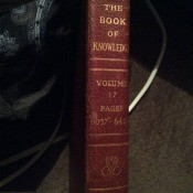 Value of Grolier Encyclopedias - red and gold spine of the Book of Knowledge