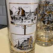 Identifying Vintage Drinking Glasses - tall glasses with black images of public buildings and parks