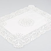 A lace paper rectangular placemat.