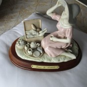 Value of a Leonardo Figurine - sitting woman with a tea service and picnic basket