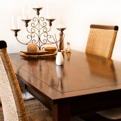 A vintage dining table and chairs.