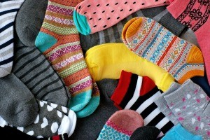 A pile of multicolored socks.