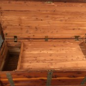 Value of a Larkin Furniture Company Cedar Hope Chest - open with a lift out tray in place