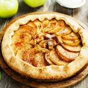 An apple galette with cinnamon.