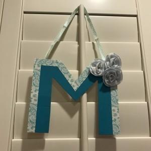 Hanging Initial Letter Decor - finished letter hanging on plantation blinds