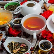 A collection of tea and tea making items.
