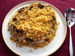 Eggplant Layered Rice on plate
