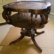 Identifying a Vintage Table- two tier squarish table with rounded corners and 4 bent supports in the corners