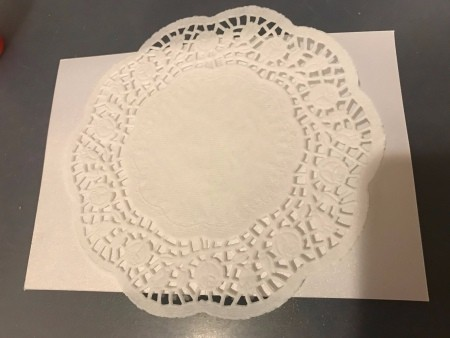 Bride and Groom Wedding Chair Signs - glue the doily to the center of the cardstock