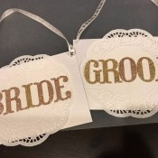 Bride and Groom Wedding Chair Signs - ready to hang