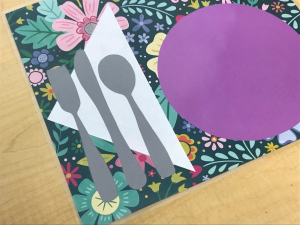 Play Placemats and Stovetop - closeup of utensil corner of mat