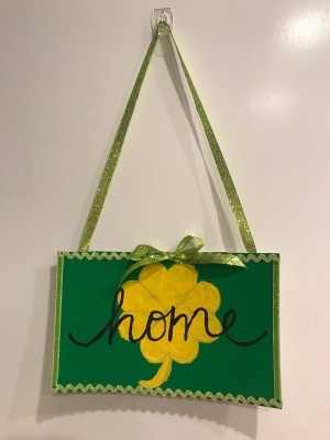 St. Patrick's Day Theme Hanging Wall Sign - ribbon hanger added and a matching bow and then hung on a hook