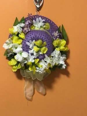 Easter Bonnet Door Wreath - finished wreath