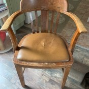 Identifying an Old Wooden Chair - old wooden armed chair with vinyl  upholstered seat