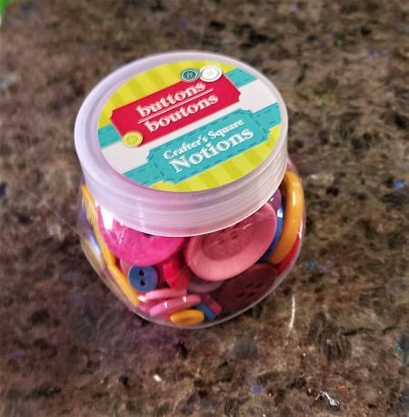 Repurposed Easter Wreath - jar of buttons
