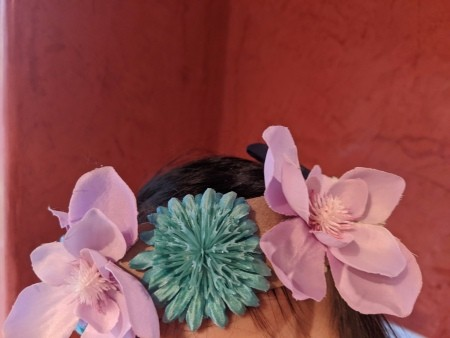 Making a Flower Crown - partial view of the crown on a child's head