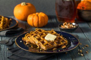 A plate of pumpkin waffles.