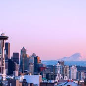 Scenic view of Seattle with Mt. Rainier in the background
