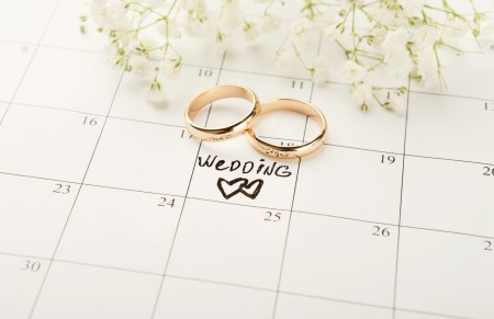 Two wedding rings on a calendar.