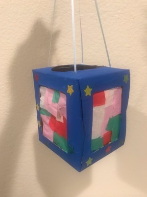Kids DIY Cardboard Lantern - finished lantern