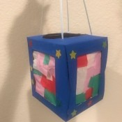 Kids DIY Cardboard Lantern - finished lantern