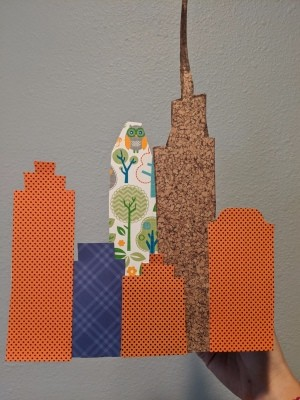 Cityscape Background for Playing with Toys - colorful paper cityscape