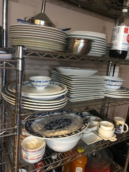 DIY Over the Counter Dish Rack - shelves with dinnerware