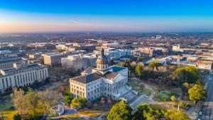 An arial view of Columbia, South Carolina.