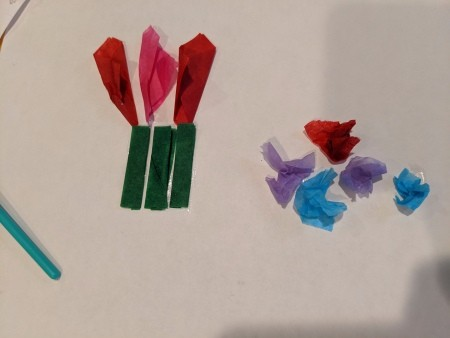 Child's Spring Floral Artwork - fold green pieces to make stems