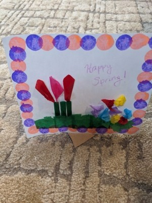 Child's Spring Floral Artwork - ready to display
