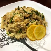 Homegrown Mushroom and Asparagus Risotto on plate