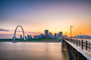 A skyline view of St. Louis, MO.