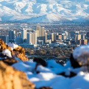 A view of Reno, NV with the mountains behind.