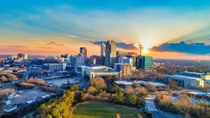 A skyline view of Raleigh, NC.