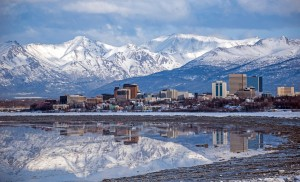 A scenic view of Anchorage, AK.