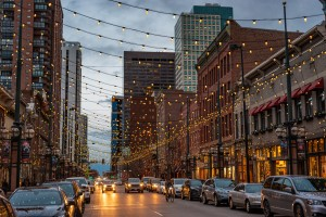 A scenic view of a street in Denver, CO.