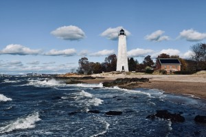 A lighthouse on the Connecticut shore.