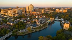 A skyline view of Wilmington, DE.