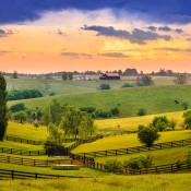 A scenic view of farmland in Kentucky.