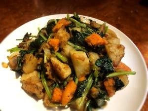 Sweet Potato Spinach Home Fries on plate