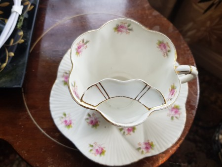 A tea cup with a mustache tray inside the cup.