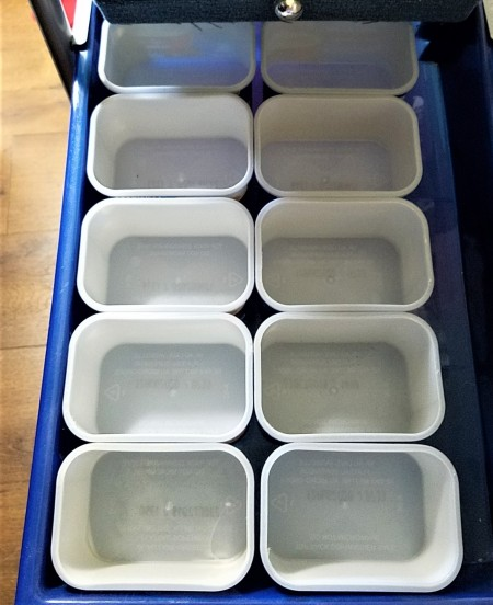 DIY Bead and Small Item Storage - empty coffee containers in a drawer
