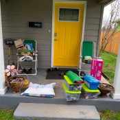 Groceries and supplies dropped off on the porch.